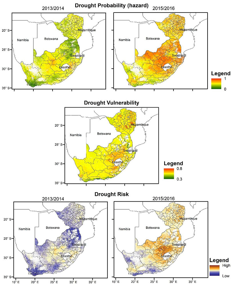 Drought affects vegetation and agricultural production